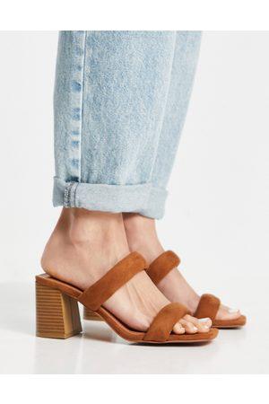 ASOS Hyatt padded mid heeled mules in tan-Brown