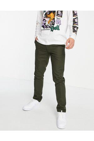 Farah Elm cotton hopsack slim fit trousers-Green