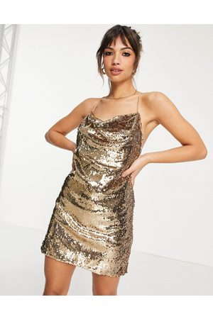 ASOS Cowl neck all over sequin mini cami dress in gold