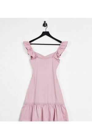 ASOS Tall cut out sundress with ruffle shoulder in rose-Pink