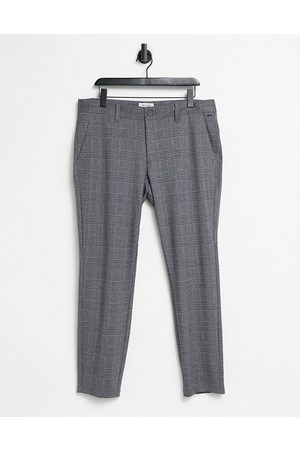 Only & Sons Trousers in slim fit grey check-Black