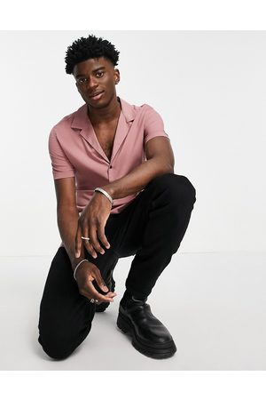 ASOS Skinny viscose shirt with revere collar in dusky pink