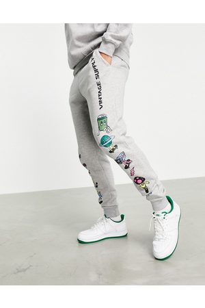 Vintage Supply Retro skate graphic co-ord joggers in grey