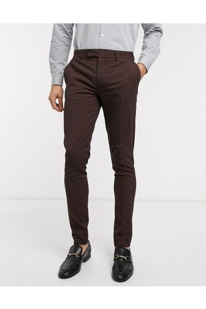 ASOS Wedding skinny suit trousers in mini check in burgundy and grey-Red
