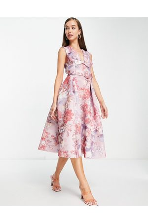 ASOS Twist square neck belted prom skater midi dress in floral print-Multi
