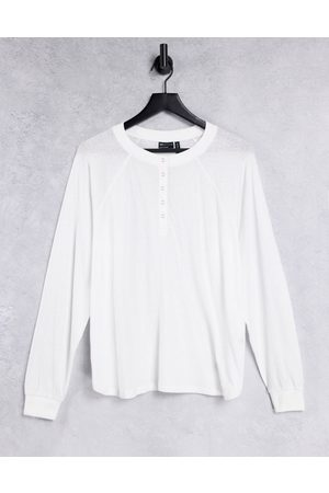 ASOS Oversize popper front long sleeve top in white