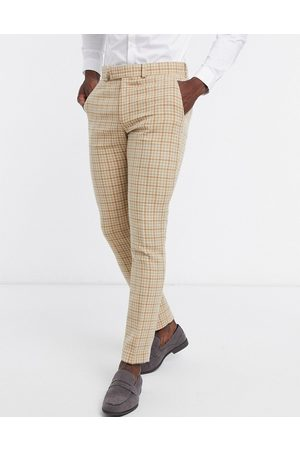 ASOS Wedding skinny wool mix suit trousers in camel houndstooth check-Neutral