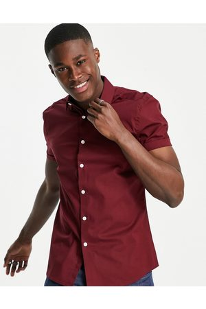 ASOS Stretch skinny fit shirt in burgundy-Red