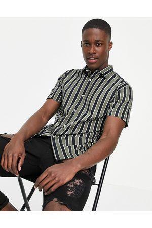 JACK & JONES Originals vertical stripe shirt with revere collar in khaki/black-Green