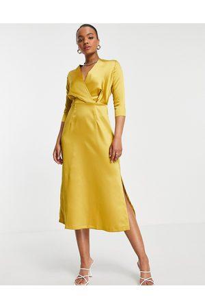 Closet Closet Gold 3/4 Sleeve Wrap Dress-Yellow