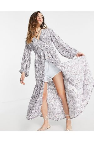 VIOLET ROMANCE Maxi kimono in floral print-Multi
