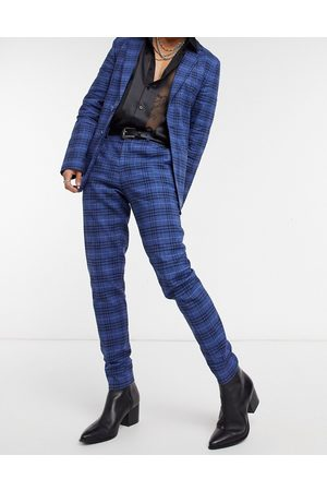 ASOS Herre Chinos - Super skinny soft tailored suit trousers in dark blue windowpane check