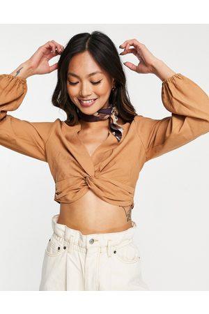 ASOS Long sleeve wrap top co-ord in tan-Brown