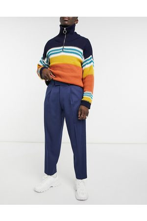 ASOS Oversized tapered smart trousers in navy