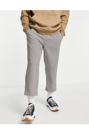 Vintage Supply Casual woven check trousers in brown