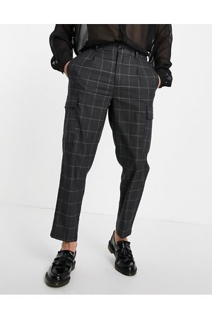 Devils Advocate Oversized checked cargo trouser-Grey
