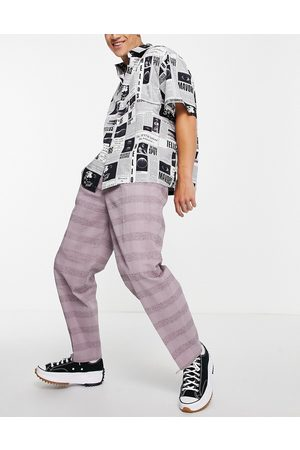 ASOS Oversized tapered smart trousers in lilac linen check-Purple