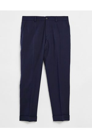 HUGO BOSS Business Perin relaxed fit cropped trousers-Blue