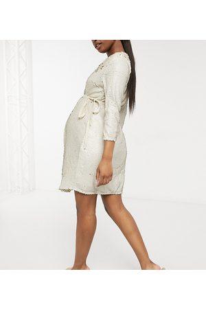 Little Mistress Wrap front velvet sequin mini dress in ivory-White