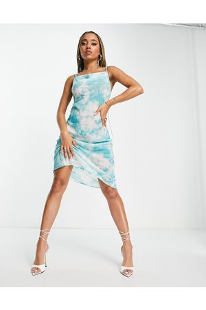Candypants Cowl neck beach midi dress in blue tie dye