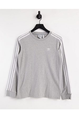 adidas Adicolor three stripe long sleeve t-shirt in grey
