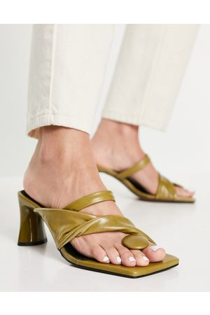 ASOS Husky premium leather mid heeled sandals in olive-Green