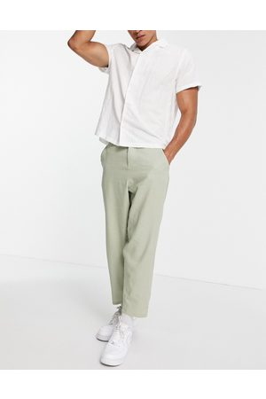ASOS Linen mix oversized tapered trousers in sage green