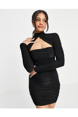 ASOS Square neck ruched mini in black-Brown