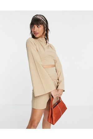 ASOS Long sleeve top in cotton twill co ord-Neutral