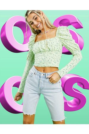 ASOS Square neck ruched bust long sleeve top in pastel floral-Multi