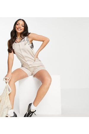 Noisy May Dungaree playsuit in stone-Neutral