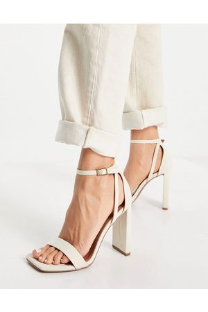 ASOS Noelle barely there block heeled sandals in natural-Neutral