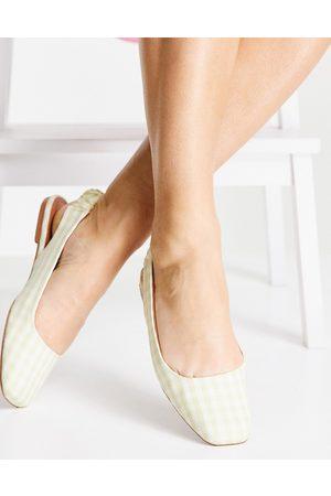 ASOS Lend square toe slingback ballet flats in natural gingham-Neutral