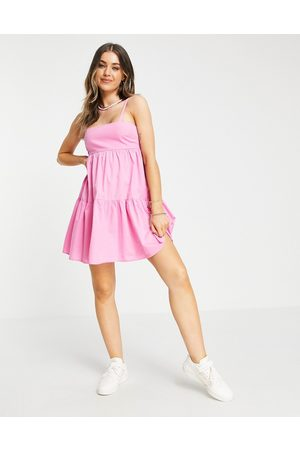 ASOS Tiered mini sundress in pink