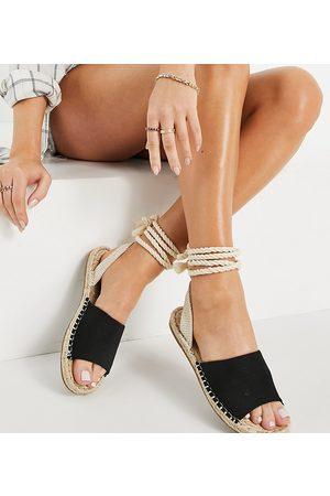 ASOS Wide Fit June rope tie espadrilles sandals in black
