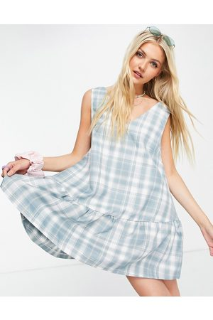 Daisy Street Sleeveless mini smock dress in vintage check-Blue