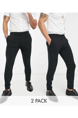 ASOS Super skinny smart trouser multipack in black