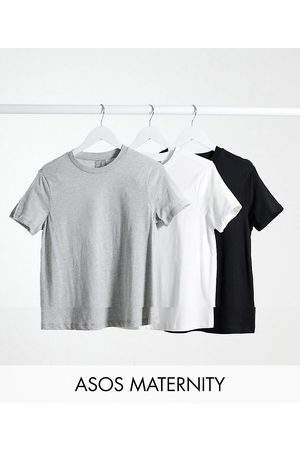 ASOS ASOS DESIGN Maternity ultimate organic cotton t-shirt with crew neck 3 pack SAVE in black, white & grey marl-Multi