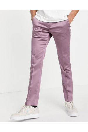 Twisted Tailor Suit trousers in mauve satin-Purple