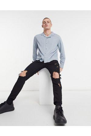 Topman Long sleeve shirt in grey-Black