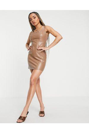 NaaNaa PU bodycon mini dress in tan-Brown