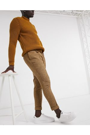 ASOS Tapered wool mix smart trousers in camel-Neutral