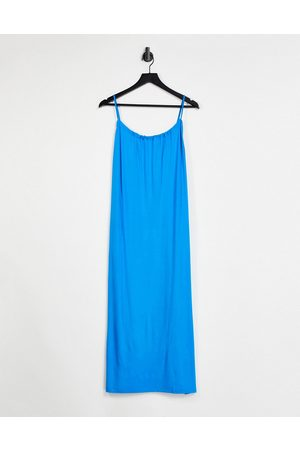 ASOS Gathered neck strappy midi sundress with pockets in bright blue