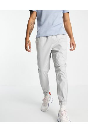 ASOS Tapered chino joggers with elasticated waist in grey