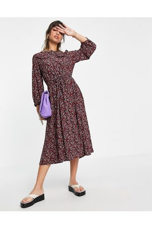 Y.A.S Midi dress with peter pan collar in red ditsy floral-Multi