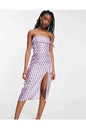 Collective The Label Satin slip midi dress in lilac heart print-Purple