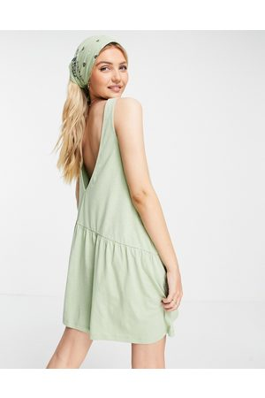 ASOS Sleeveless smock dress with v back in sage-Green