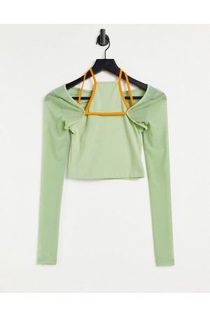 ASOS Yoga long sleeve top with cut out and strapping detail-Green