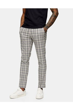Topman Check skinny trousers in pink and yellow-Multi
