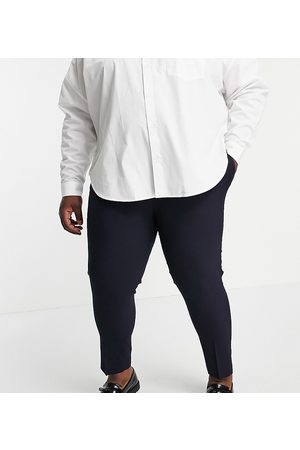 ASOS Plus skinny cropped smart trousers in navy